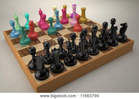 Disordered Color Chess Team Vs. Regular Black Team