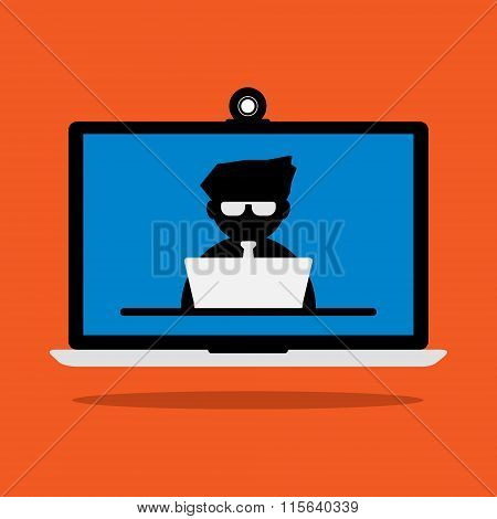 Computer Laptop Displaying A Businessman With Laptop Online Meeting In A Conference Room. Vector Ill