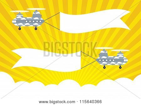 Military Helicopter Chinook With Banners For Text Banners On Yellow Sun Rays And Cloud Background.