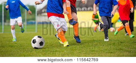 Children Playing Soccer Football Match. Sport Soccer Horizontal Background.