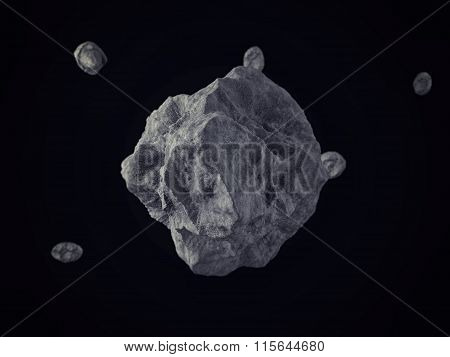 Meteorites/Rocks floating on outer space