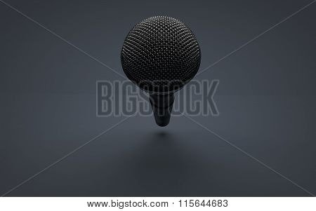 Perspective view of a Microphone on infinite stage room