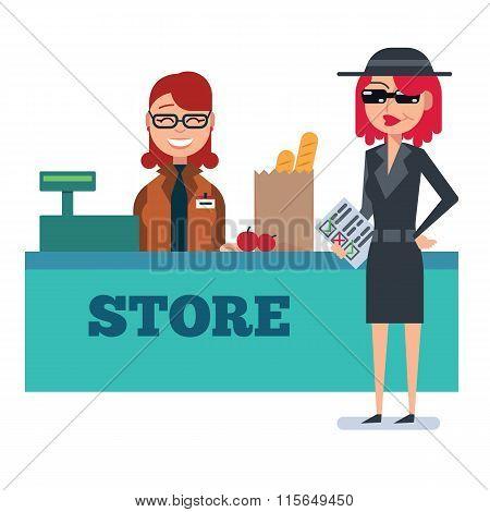 Mystery shopper woman in spy coat checks grocery store