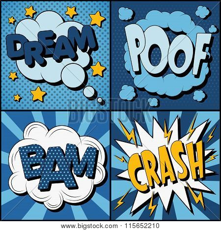 Set Of Comics Bubbles In Vintage Style. Expressions Dream, Poof, Bam, Crash