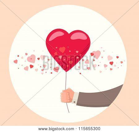 Vector Illustration Of Man Hand Holding Red Balloon On White Background. Art Design For Valentine's