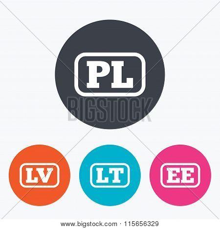 Language icons. PL, LV, LT and EE translation.