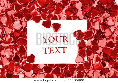 Card With Space For Your Text On A Red Hearts Background