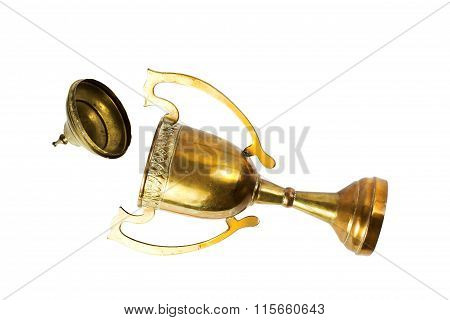 Vintage Trophy On The White Background With Light And Shade.