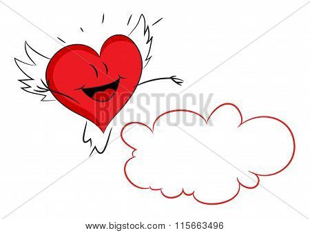 Red hearts with cloud. Happy Valentine's day. Vector
