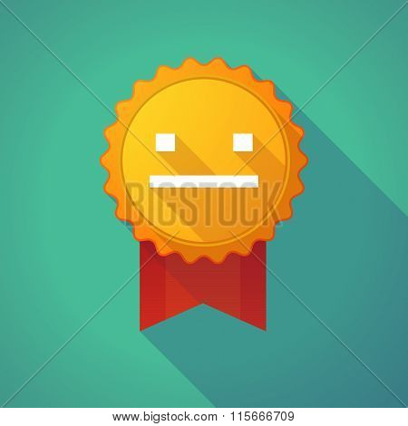 Long Shadow Badge Icon With A Emotionless Text Face
