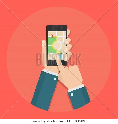 Gps vector flat illustration