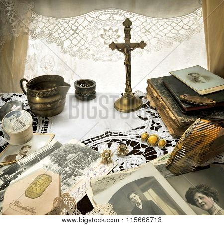 Nostalgic Reminiscence -  Still Life with Antique Crucifix And Other Ladies Accessories One Hundred Years Ago