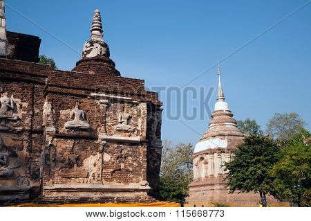 The Maha Chedi Of Wat Jhet Yot Temple In Thailand.