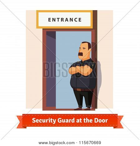 Security guard or bouncer working at the door