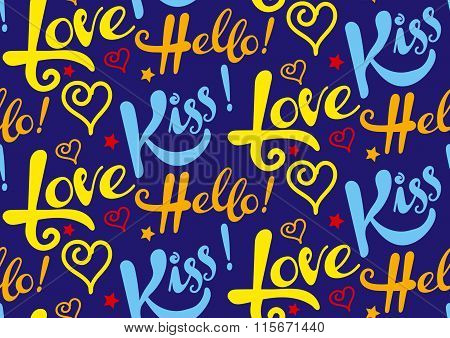 Love, kiss, hello, text, seamless pattern, colorful