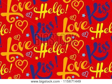 Love, kiss, hello, text, seamless pattern, red