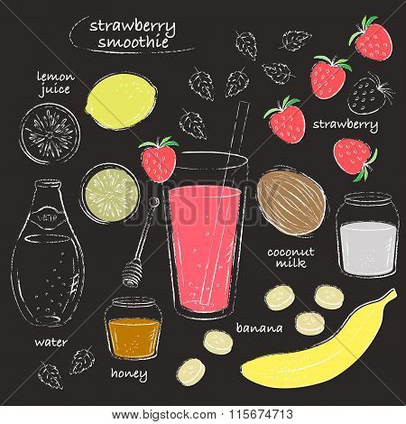 Strawberry Smoothie Glass And Ingredients Recipe Line Art Chalk Sketch