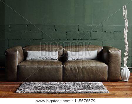 Vintage old chair, sofa in the corner of vintage room