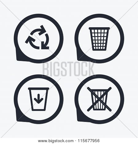 Recycle bin icons. Reuse or reduce symbols. Trash can and recycling signs. Flat icon pointers. poster
