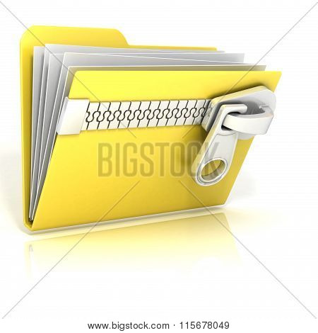Zip archive compressed folder icon. 3D