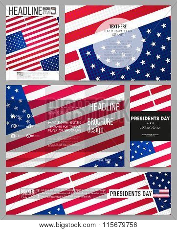 Set of business templates for presentation, brochure, flyer or booklet. Presidents day background wi