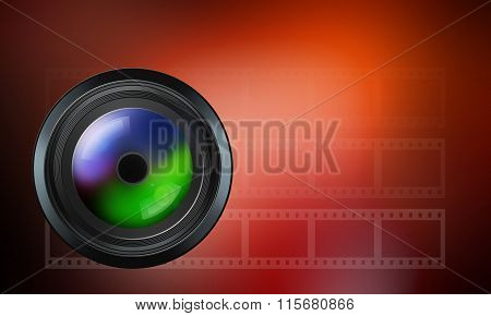 Photographic Lens On Red Background