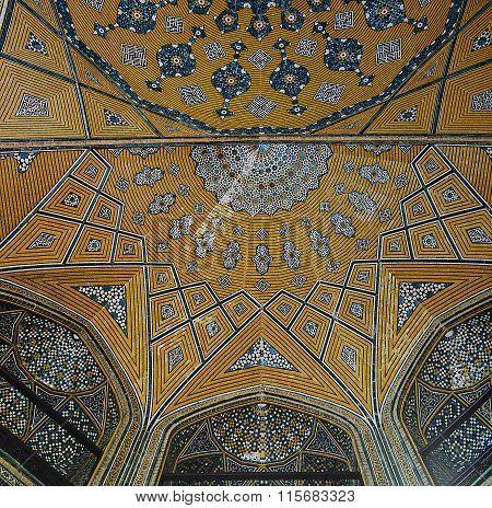 Persian Mosaic In Madrasa Mother Of The Shah,isfahan,iran