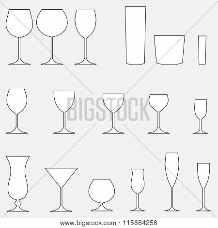 Glass set. Stemware for a different drinks. Vector silhouettes.