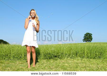 woman doing soap bubbles