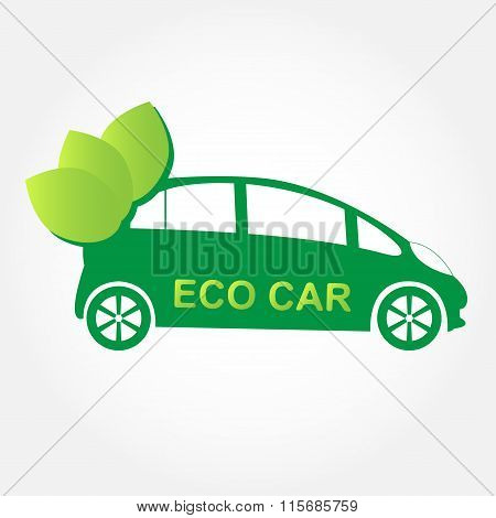 Eco-friendly car. Green car with green leafs. Auto, vehicle or hybrid car icon. Vector illustration.