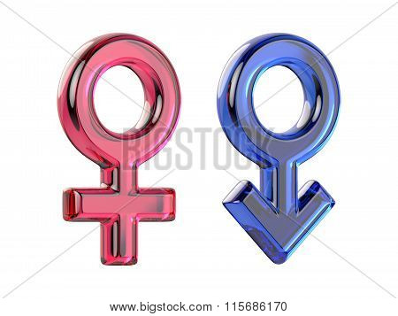 Male and female sex symbols. Transparent gems. 3D