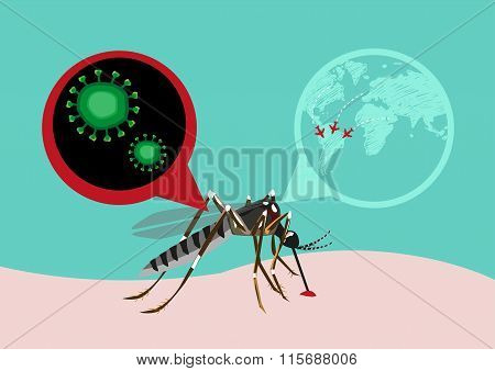 Zika Virus Outbreak and Travel Alert concept.