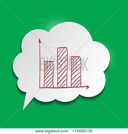 Paper Bubble With Chart On Green Background