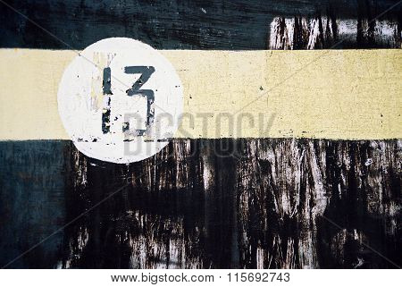 Absrtact Background - Yellow Stripe And Number Thirteen
