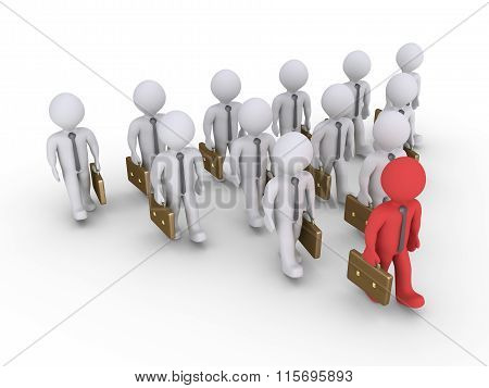 Businessman Is Leading Others