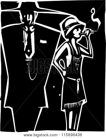 Woodcut syle image of a woman in a flapper dress smoking and a man in a Zoot Suit