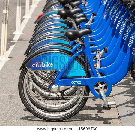 Row Of Citi Bikes Waiting To Be Rented In Manhattan