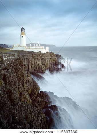 Long Exposure Storm Sea Lighthouse Cliffs
