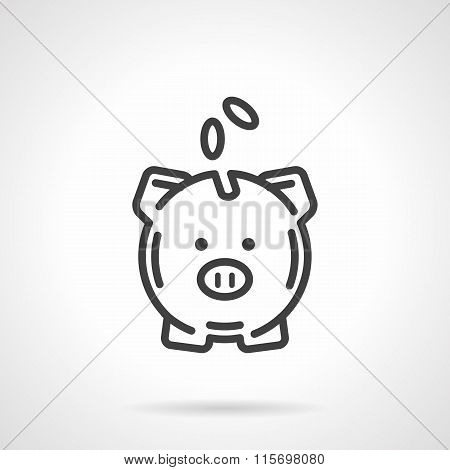 Piggy bank simple line vector icon