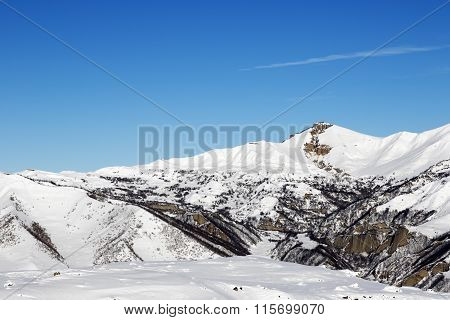 Snowy Winter Mountains At Nice Sun Day
