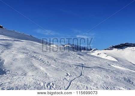 Off-piste Slope At Sun Day