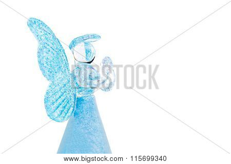 Blue Glass Angel Praying Isolated On White Background