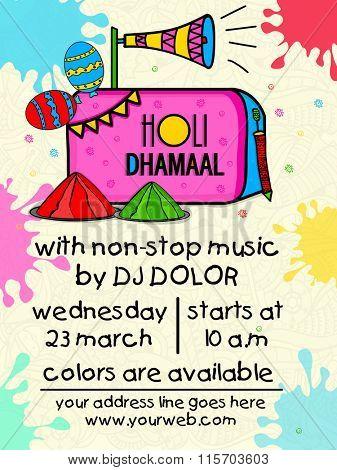 Creative colourful splash decorated Pamphlet, Banner or Flyer design for Indian Festival, Holi Party celebration.