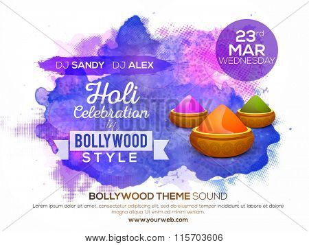 Creative Poster, Banner or Flyer design with dry colours for Indian Festival, Holi celebration.