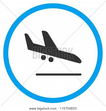 Aiplane Landing Circled Flat Icon