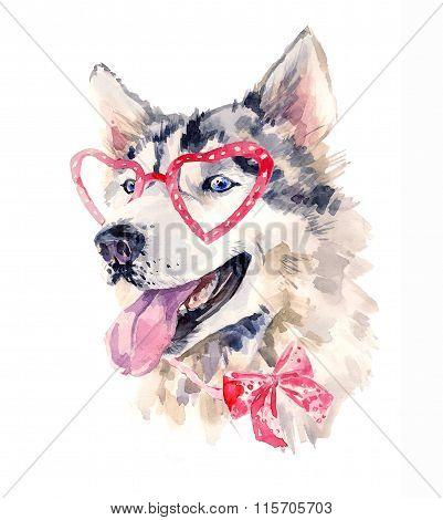 Watercolor dog in red glasses