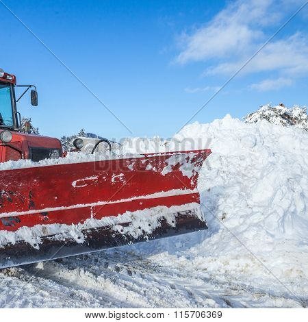 Red Colored Snow Plow Machinery