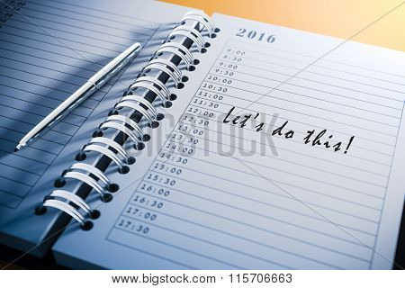 3d personal agenda and text, close up