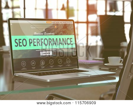 Laptop Screen with SEO Performance Concept.