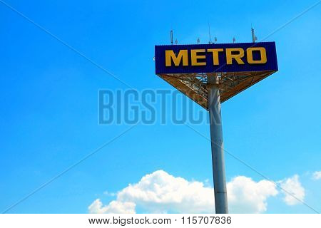 Signboard With Logo Of The Brand Metro